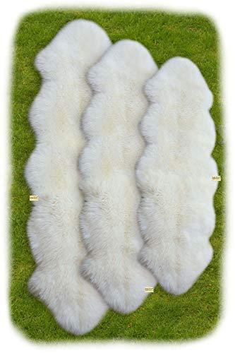 Zaloop Merino Doppel Lammfell Teppich extra groß versch. Farben und Größen echt Läufer (weiß, ca.190 x 60-70 cm)