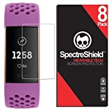Spectre Shield (8 Pack) Screen Protector for Fitbit Charge 4 or 3 Accessory Fitbit Charge 4 or 3 Screen Protector Case Friendly Full Coverage Clear Film