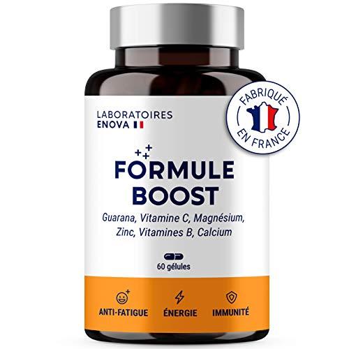FORMULE BOOST | Multivitamines et Minéraux + Guarana, Vitamine B, C, Calcium Magnesium Zinc, Guarana | Complément Alimentaire Anti-Fatigue | Immunité et Energie Naturelles | Fabriqué en France