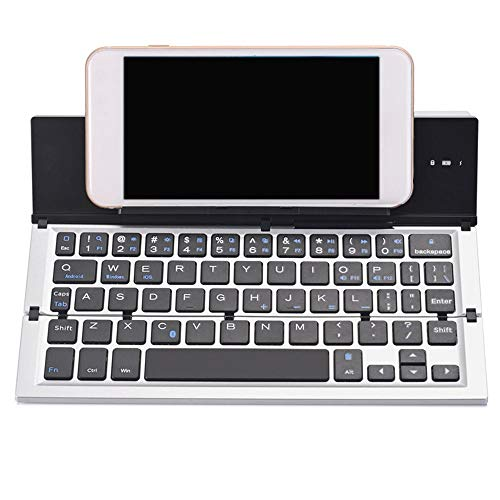 LCSD Keyboard Three Fold Bluetooth Keyboard Mobile Phone Tablet Portable Mini Ios Android Universal Keyboard (Color : Silver)