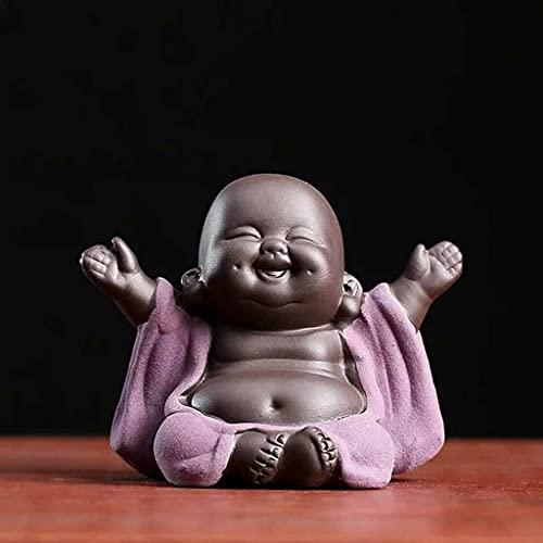ZLBYB Lucky púrpura Arcilla Maitreya té Mascota Creativo Flor Maceta Bonsai decoración pequeños Ornamentos cerámica Buda Estatua té té Manualidades (Color : A)