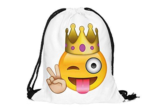 Sacca sportiva a tracolla per l'allenamento, ma non solo. Ultra leggero lifestyle viaggio borsa borsetta palestra zaino a spalla trend sport per uomini donne ragazzi ragazze bambini, Turnbeutel 1 RU-10-50:RU-39 weiß Emoticon King