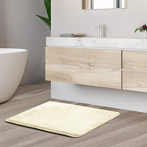 "Clara Clark Memory Foam Bath Mat Set - Non Slip, Absorbent, Soft Bath Rug Set - Fast Drying Washable Bath Mat - White - Small Size 17"" x 24"""