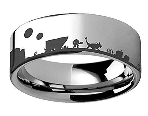 Roy Rose Jewelry スター・ウォーズ 新たなる希望 ジャバ・パレス R2D2 CP3O リング フラット研磨 タングステンリング 幅8mm