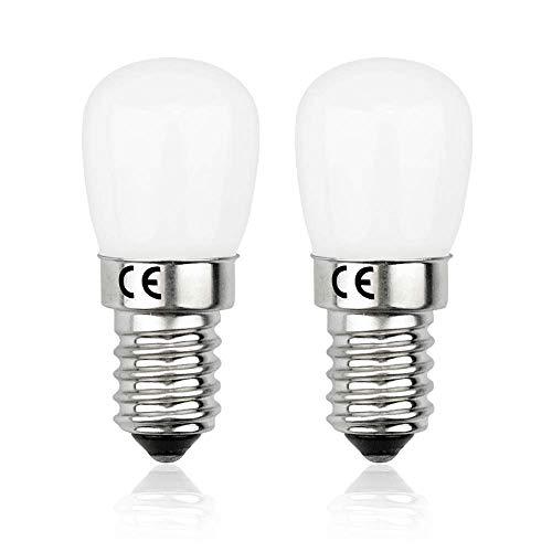 Bonlux 2-PCS 1.5W E14 SES 220V Mini Ampoule LED, Petit Culot à Vis Edison E14 Blanc Froid 6000k 120 Lumens, 1.5W équivalent 15W Ampoule Halogène pour Réfrigérateur Micro-ondes Machine à coudre