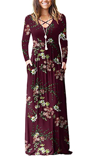 Floral print maxi dress in wine red