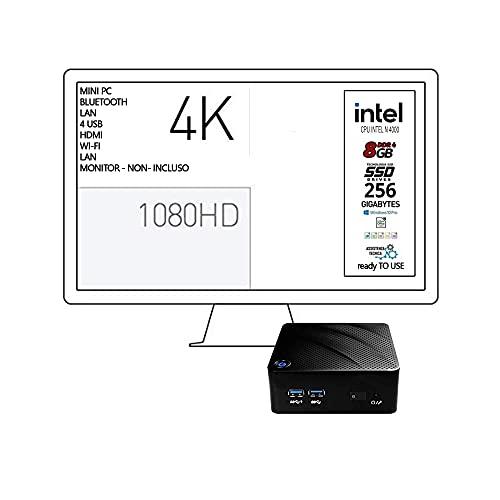 Mini Pc, Cpu Intel N 4000 fino a 2.6 GHz M.Fanless Design, Ram 8Gb ddr4, SSD m.2 256Gb Wi-Fi, 4 usb 3.0, Hdmi, lan, 4K codifica Video h265, supporto vesa incluso, Win10 Pro 64bit, Pronto all'uso