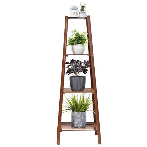 medla Estantería para Plantas de Bambú, Escalera Decorativa para Flores con 4 Niveles, Estante...