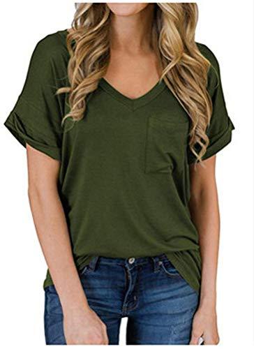 Primavera Verano Nueva Camisa Casual De Mujer con Cuello En V Bolsillo Camiseta Suelta De Manga Corta