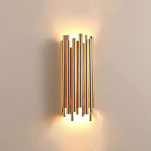 WEM Lámparas de pared, lámparas de pared doradas nórdicas, aplique de aluminio geométrico, lámpara de pared con pantalla, lámparas de pared de metal de tubo creativo para dormitorio, sala de estar, p