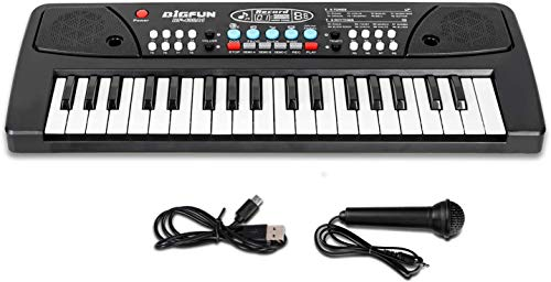 MANVI Kids Piano Keyboard, Piano for Kids with Microphone Portable Electronic Keyboards for Beginners 37 Keys Kid Musical Toys Pianos for Girls Boys Ages 3-8 (37 Key Bigfun Piano for Kids)