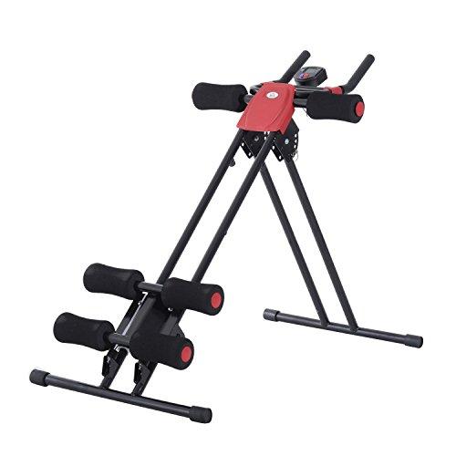 homcom Panca per Addominali Trainer Attrezzo Fitness Allenamento Casa Palestra con Display in Acciaio Nero 90x54x93cm