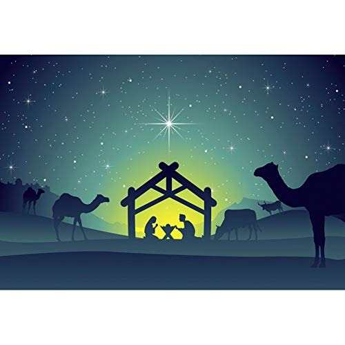 YongFoto 5x3ft Jesus Christ Born Backdrop Christmas Night Manger Nativity Scene Photography Background Birth of Jesus Farm Barn Christian Party Decor Kids Adult Portrait Studio Props Wallpaper