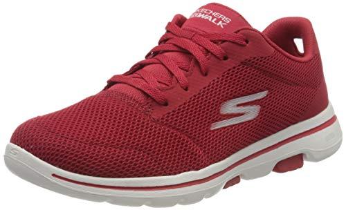 Skechers Damen GO Walk 5 Sneaker, Rot Rot Textilbesatz Rot, 37 EU