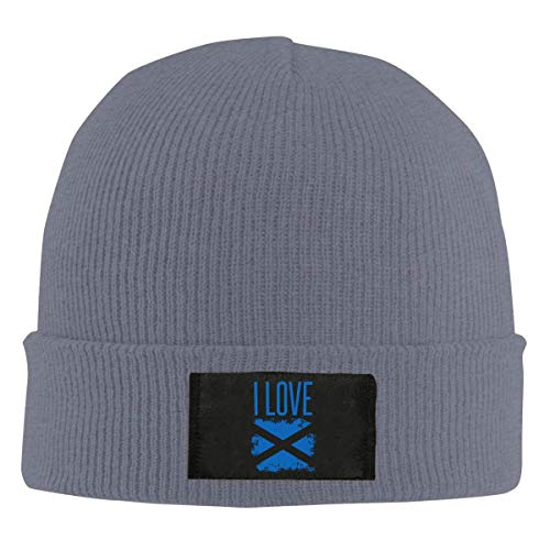 XCNGG Gorro Jersey de Lana Unisex Mens and Womens I Love Scotland Flag Knitting Hat, 100% Acrylic Trendy Skull Cap