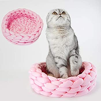 Knitted Chunky Cotton Acrylic Pet Bed Basket for Cats and Dogs  Pink Small