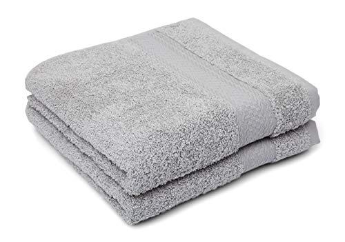 søstre & brødre 2 toallas de mano de 50 x 100 cm | gris claro | 100% algodón de rizo, certificado Öko-Tex Standard – Fabricado en la UE | calidad extra gruesa 450 g/m²
