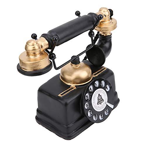 Nicoone Adorno de Escritorio Antiguo Teléfono Antiguo Retro Vintage con Cable Teléfono Fijo con Cable Decoración de Escritorio en Casa