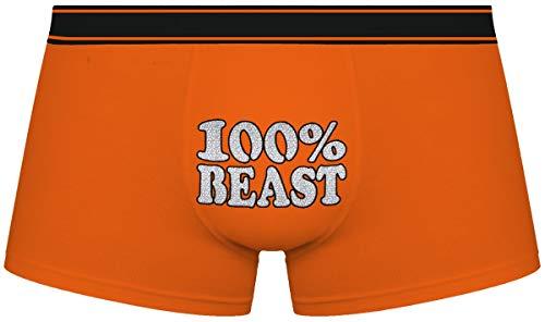 Herr Plavkin Geschenk für den Menschen | 100% Beast | Weihnachten |orange Boxershorts