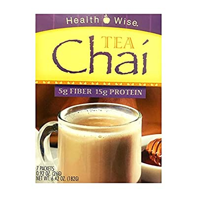Healthwise -Chai Tea High Protein, High Fiber, Mix for Any Diet - 15 Grams of Protein - 100 Calories - Hunger Suppressant - Appetite Control for Weight Loss - 7 Packets 0.92 OZ