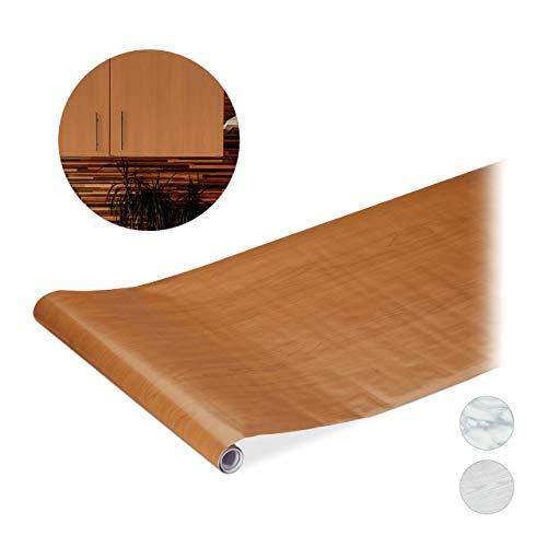 Relaxdays Plakfolie, voor doe-het-zelvers, meubels & keuken, decoratiefolie zelfklevend, houtlook, PVC, 45x200 cm, bruin, 1