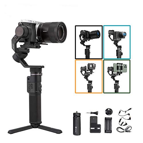 FeiyuTech G6 Max Camera Gimbal Stabilizer for Mirrorless Camera/Action Camera/Pocket Camera/Smartphone,for Sony ZV1 a6300/a6500 Canon EOS 200D M50 Panasonic,GoPro Hero 8 7 6 5, iPhone Payload 2.4lb