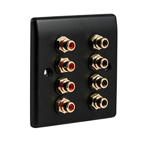 8 X Rca Phono Av Audio wandschijf plaat - mat zwart Slimline. Geen solderen nodig.