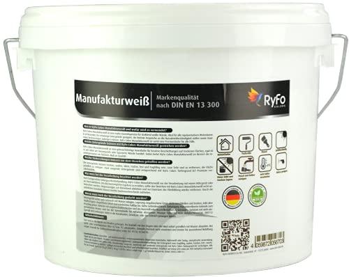 RyFo Colors Manufakturweiß 3l (Größe wählbar) - unsere beste Profi Wandfarbe, sehr ergiebige zertifizierte Innen-Dispersion, Innenfarbe weiß, hoher Weißgrad, Deckkraft Klasse 1, Nassabrieb Klasse 1