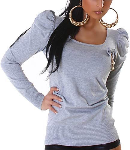 Jela London Damen Schleifen Longpulli Pullover Puff-Ärmel Rüschen Pullover Sweatshirt Longsleeve Rücken-Dekolleté Ausschnitt Stretch, Grau