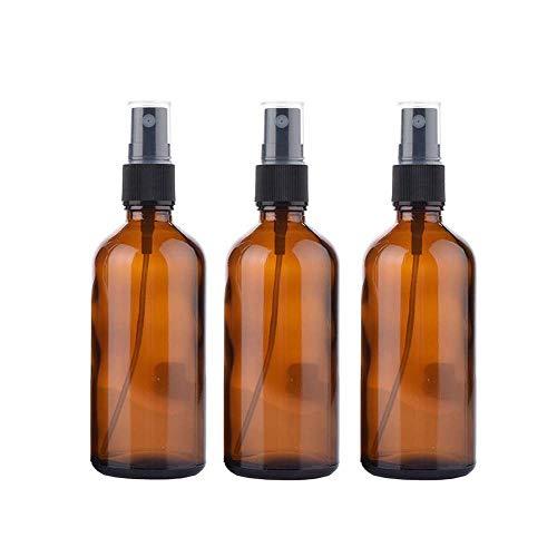 VOARGE 3 Stück Kleine Sprühflasche aus Braunglas Leer Feinen Nebel Glasflaschen Zerstäuber Sprayflasche 100ml, Nachfüllbar Leere Braunglas Sprühflasche Zerstäuber Flüssigkeit Container Reise