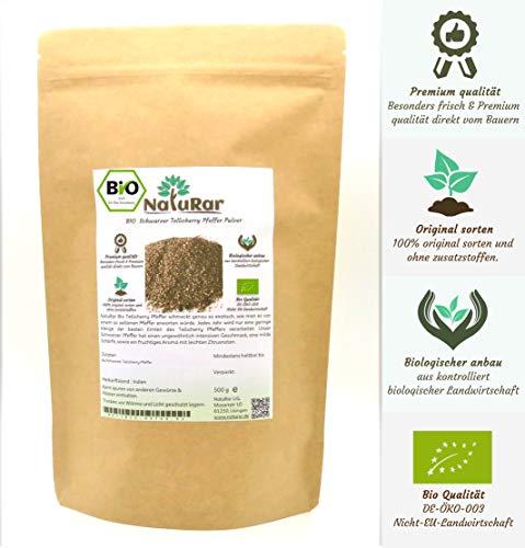 NatuRar Bio Schwarzer Tellicherry Pfeffer Pulver 500g   Frisch gemahlen   Kontrollierter Biologische Anbau aus Indien   Verpackt und kontrolliert in Deutschland