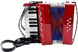 SMAA 17-Key 8 Bass acordeón, Piano acordeón, Incluye Correa para el Hombro Ajustable, para Kids Junior Estudiantes Principiantes, el Regalo de cumpleaños Ideal,Rojo