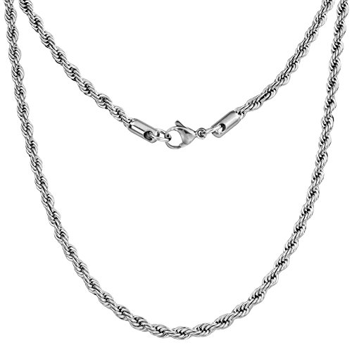 """Silvadore 4mm Rope Mens Necklace - Silver Chain Twist Stainless Steel Jewelry - Neck Link Chains for Men Man Male Women Boys Girls - 18"""" 20"""" 22"""" 24"""" 26"""" 36"""" UK"""