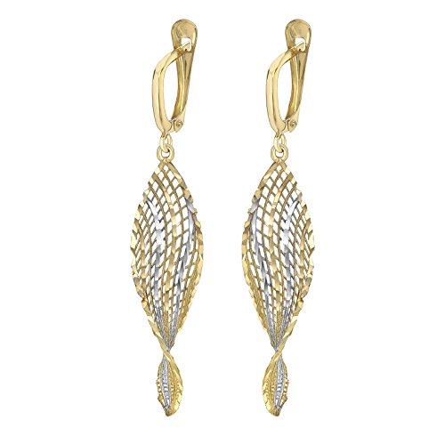 Carissima Gold Women's 9 ct Yellow Gold Square Patterned Large Drop Earrings
