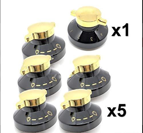 UTP 6 x Ofen Knopf für Gasherd, Herd, Grill, Flammen-Kontrollschalter