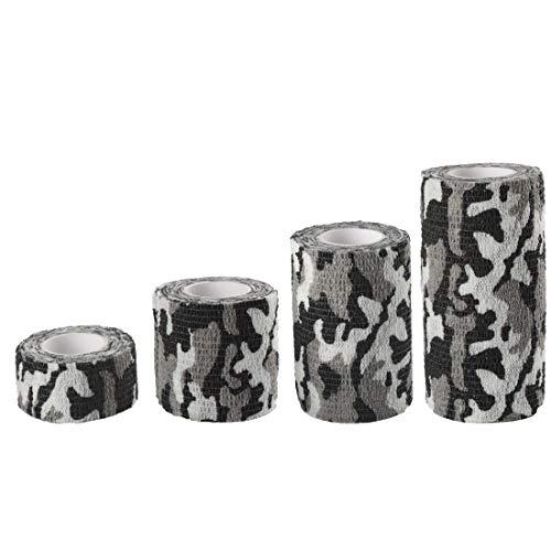 Andux Zone Auto-adhésif Bandage 4 Rubans adhésifs à Bande cohésive ZZTXBD-04 (Camouflage Blanc Noir)
