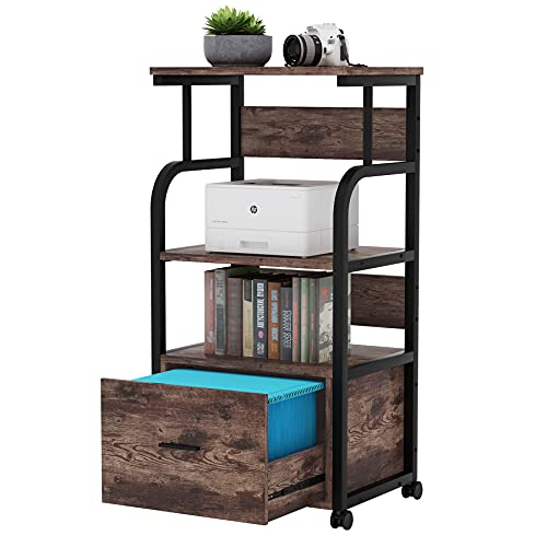 Tribesigns Mobile File Cabinet with Printer Shelf, 3 Tier Printer Stand with Legal Size Drawer, Rolling Filing Cabinet Printer Cart with Storage Shelves for Home Office Kitchen (Rustic Brown)