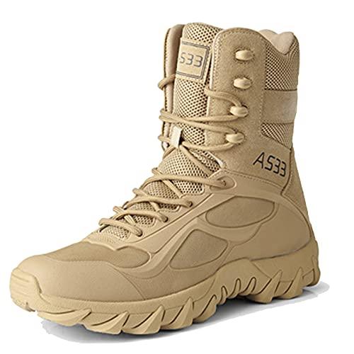 SXQSNKJ Botas tácticas Hombres Tamaño 6 Zapatos Militares Botas de Senderismo al Aire Libre con Cremallera Otoño Invierno Zapatos de Entrenamiento Transpirables,Sand-43(UK8.5)