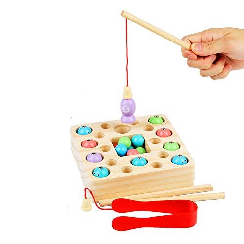 FORMIZON Giochi di Pesca, 3 in 1 Giochi Montessori Pesca, Giochi di Pesca digitali interattivi per Genitori e Bambini, Giochi in Legno Giocattoli Bambini