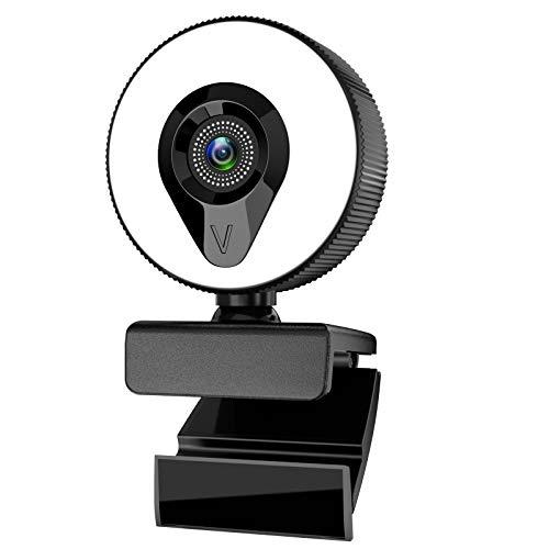 AIORX Webcam mit Mikrofon, Ringlicht Webcam 1080p Full HD Autofokus 110° Weitwinkel Plug and Play, USB Kamera für PC, Streaming Webcam mit Stativ für Online Kurs Videokonferenz Windows Mac Android