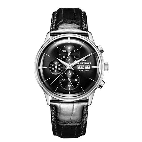 REEF TIGER Herren Uhr analog Automatik mit Leder Armband RGA1699-YBB