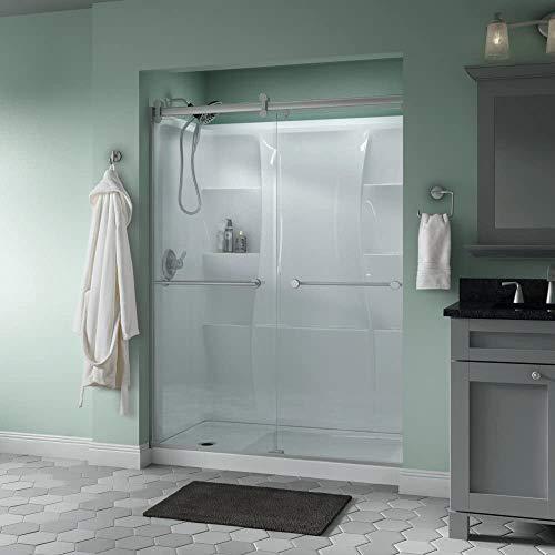Delta Shower Doors SD3172712 Trinsic Semi-Frameless Contemporary Sliding Door 60in.x71in, Nickel Track
