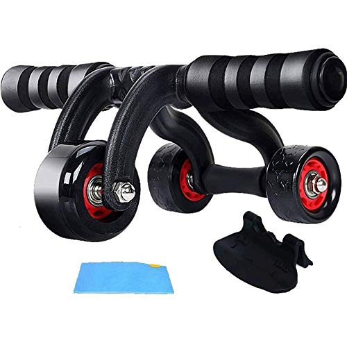 AB Roller Exercise Wheel Abdominal Trainer Three Rounds with Foam Handle, Exercise Roller Whole Body Fitness for Fitness Home & Gym Workout