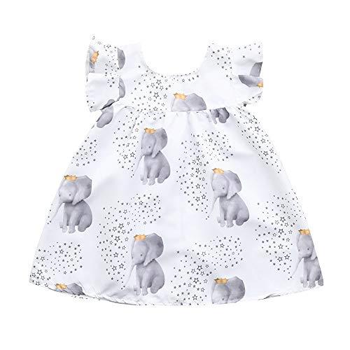 Schönes Kinderkleid,SUNFANY Kleinkind Baby MäDchen Kleid Sterne Elefant Print Kleider Kleidung Outfits(Weiß Blau,12 Months)