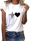 heekpek Camiseta Mujer de Mangas Cortas Escote Redondo Top Casual Verano