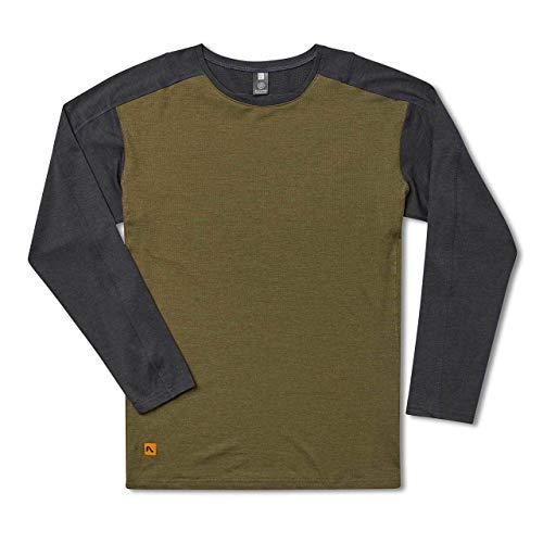 Flylow Shaw Shirt - Men's Long Sleeve Anti-Odor Treated Shirt for Hiking, Mountain Biking and Trail Running (Black/Pine, S)