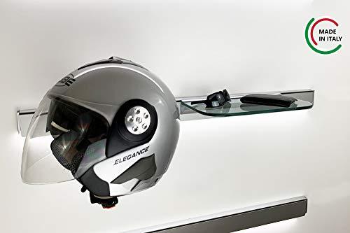 ALUCABINA Decoración horizontal con un porta casco de moto, una estantería de cristal y una barra porta utensilios L.100 cm. Producto artesanal fabricado en Italia.