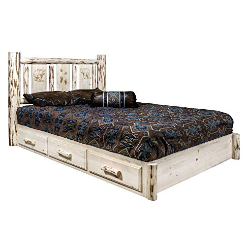 Why Choose Montana Woodworks Bear Design Laser Engraved Platform Bed in Clear Lacquer (King: 91 in. ...