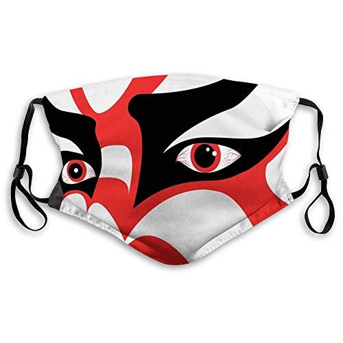 KENDIA Bequeme winddichte Maske, Kabuki-Maske, japanisches Drama-Thema Kabuki-Gesicht mit dramatischen Augen Kulturtheater, Schwarz-Weiß-Orange