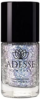 Adesse New York Organic Infused Glitter Nail Polish, Fast Drying and Chip Resistant Polish, Ultra Long Wear, For a Glitter perfect Manicure Vegan, Cruelty Free, Paraben Free- 11ml (Snow on the Lilacs)
